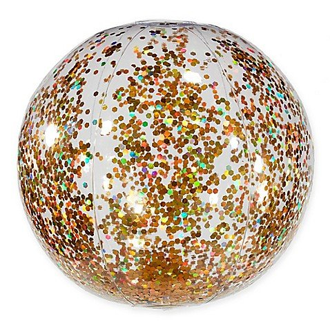 Pool Candy Glitter Beach Ball in Gold by Pool Candy
