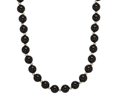 95c312f0602b0a Amazon.com: ISAAC WESTMAN 8mm Polished Black Onyx Beads & 14K Yellow Gold  Necklace   14K Gold Ball Clasp: Jewelry