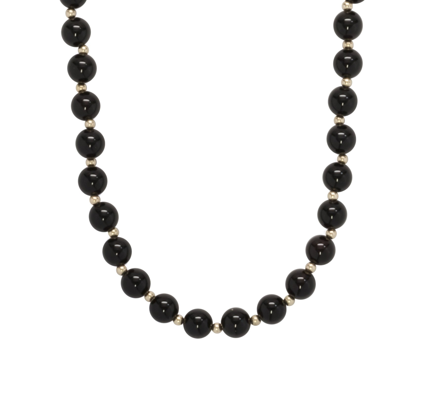 ISAAC WESTMAN 8mm Polished Black Onyx Beads & 14K Yellow Gold Necklace | 14K Gold Ball Clasp