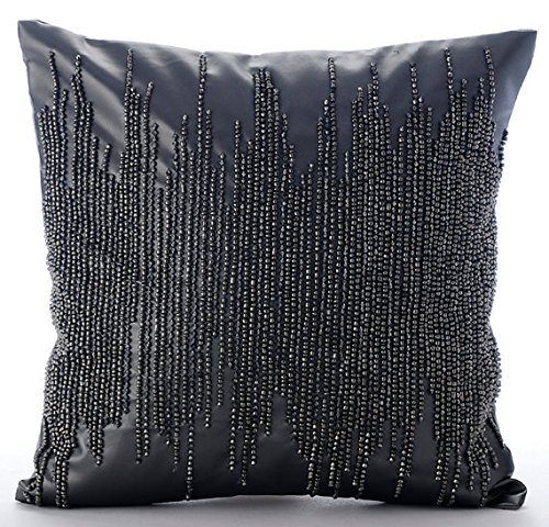 Handmade Grey Throw Pillow Covers, Metallic Beaded Club & Lo