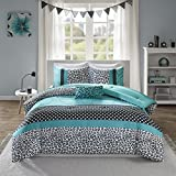 Alternative Comforter - Mi-Zone Chloe Comforter Set Full/Queen Size - Teal, Polka Dots, Damask, Leopard - 4 Piece Bed Sets - Ultra Soft Microfiber Teen Bedding for Girls Bedroom
