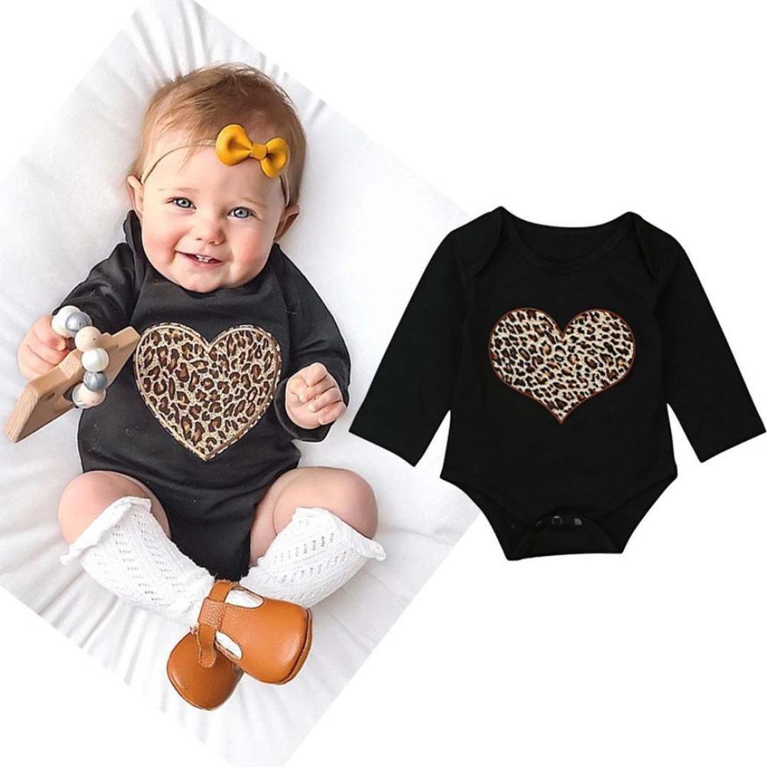 ecd9653b1df Amazon.com  Wesracia Baby Romper Toddler Long Sleeve Heart Leopard Print Romper  Jumpsuit Clothes  Clothing