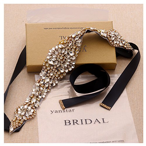 Black Sash Wedding Belts With Crystal In Gold For Bridal Dress Hand Bridal Belts-13.4In2In