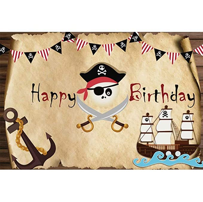 DaShan 12x10ft Retro Pirate Treasure Map Party Backdrop Corsair Boat Anchor Marine Sailor Children Nautical Themed Birthday Party Photography Background Adventure Birthday Party Photo Props