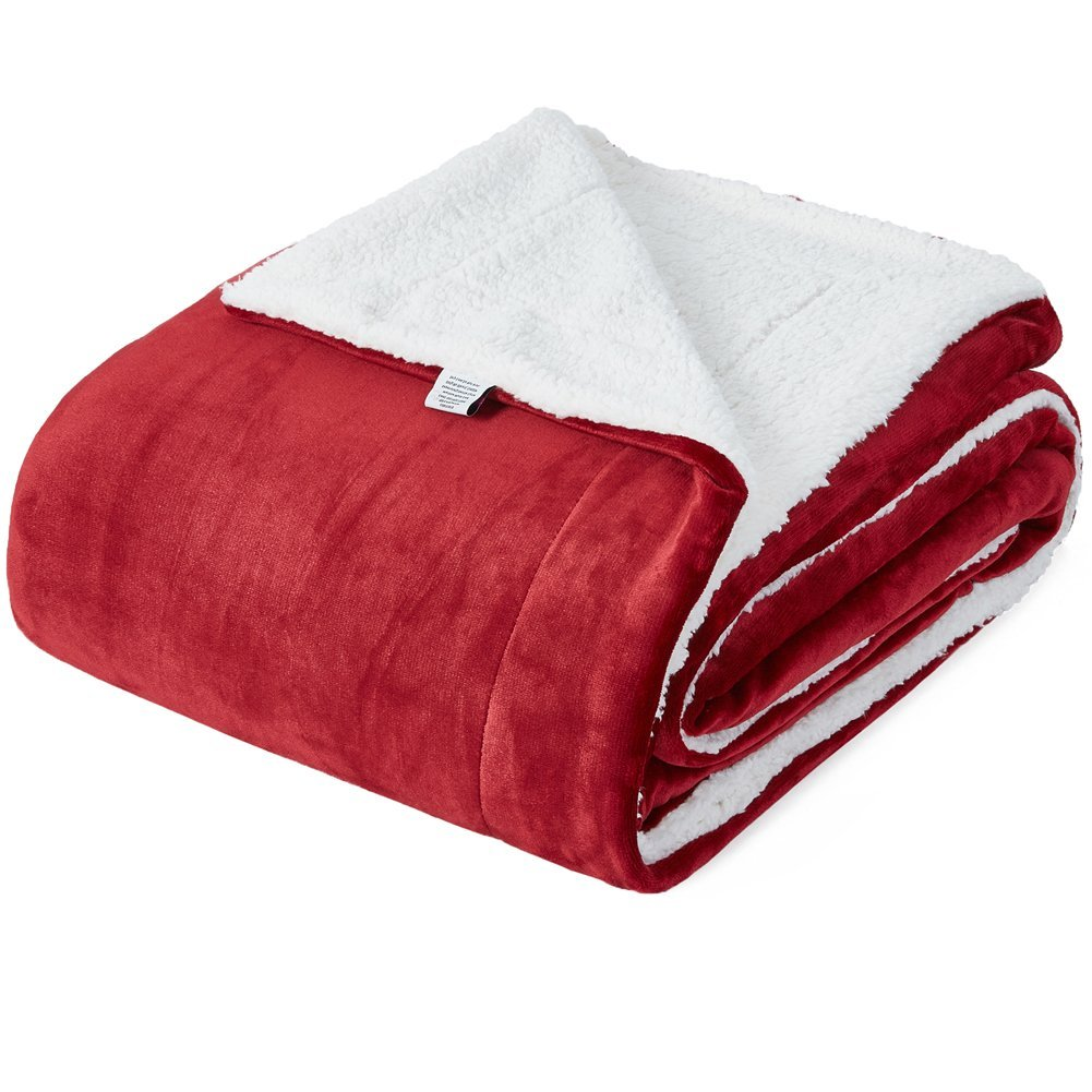Kawahome Sherpa Luxurious Blanket(Throw, Burgundy), Super Warm Extra Soft Reversible Long Shaggy Thick Blanket for Bed or Couch/Sofa, 50 x 60 Inch