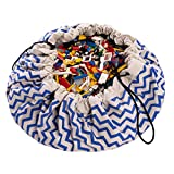 "Play Mat and Toy Storage Bag - Durable Floor Activity Organizer Mat - Large Drawstring Portable Container for Kids Toys, LEGO, Books - 55"", Zigzag, Blue"