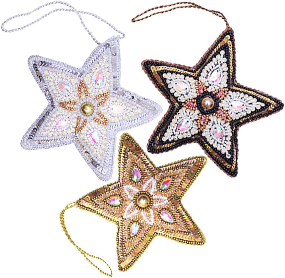 Star Christmas Ornaments, Set of 3 (Gold, Silver, Black), Handmade with Exotic Beads and Sequins, Sparkly Decor