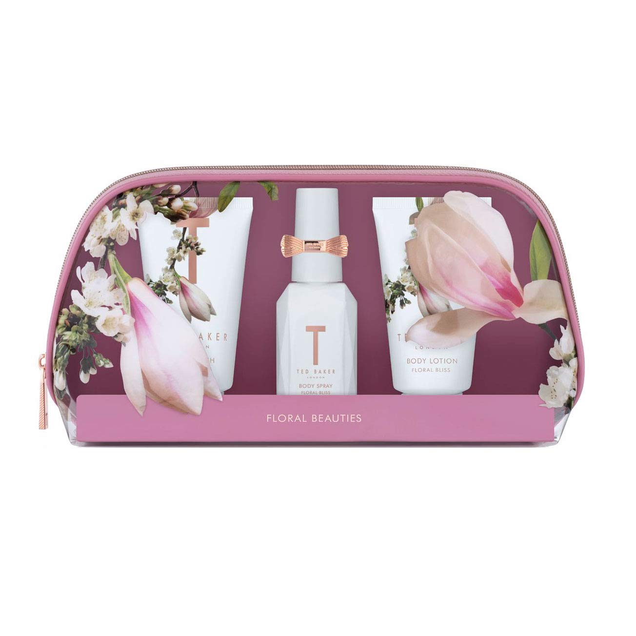 Ted Baker FLORAL BLISS Beauty PVC Bag Gift Set, Body Spray/Wash/Lotion