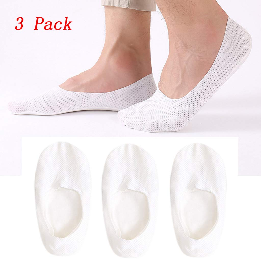White Transser 3 Packs Ice Breathable No Show Odor-Resistant Invisible Sock Casual Non-slip Grip Liner Low Cut Ankle Boat Socks for Men /& Women