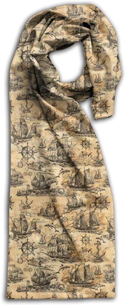 """Unique Old Sailboats Sharks Steering Wheels Adult Unisex Double Side Printing Fashion Scarves 71"""" X 10"""""""