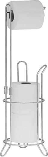 Simple Houseware Bathroom Toilet Tissue Paper Roll Storage Holder Stand, Chrome Finish
