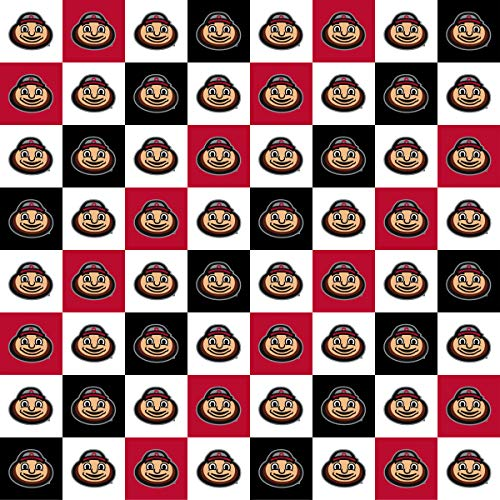 Ohio State Cotton Fabric with New Mini Check Design-Newest Pattern-NCAA Cotton Fabric