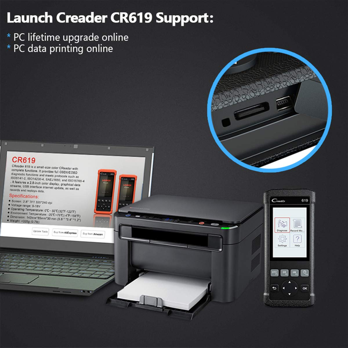 LAUNCH Creader CR619 Automotive ABS SRS Obd2 OBD ii Scanner Check Car Engine ABS Airbag Light Fault Code Readers Auto Dignostic Scan Tool with EVAP O2 On-Board Test by LAUNCH (Image #7)