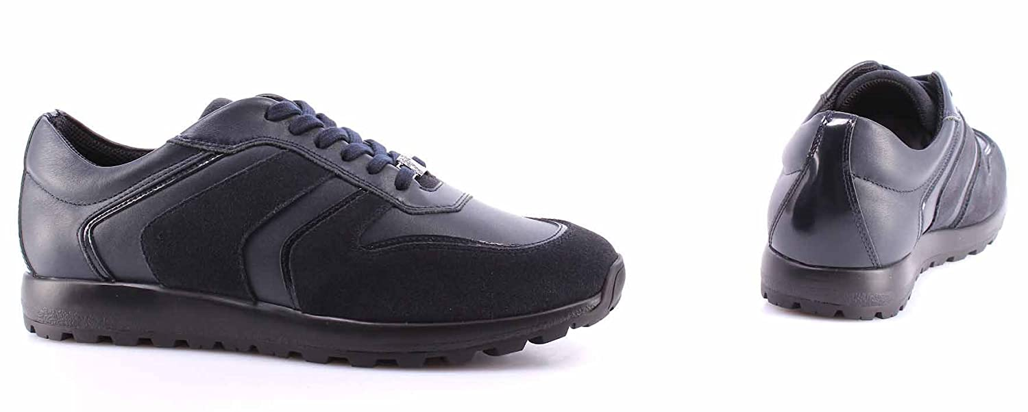 Men/'s Sneakers Shoes VERSACE COLLECTION V400C Leather Dark Blue Made Italy New