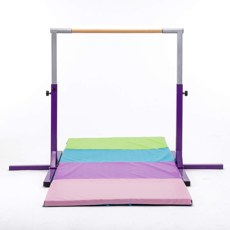 Purple Junior Kip Bar Adjustable Gymnastics Horizontal Bar for Kids Home Use