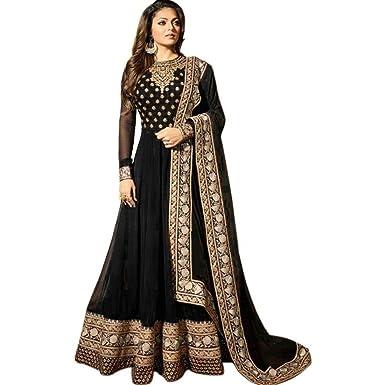 f2ccf4a98c MTAJ Black Georgette Anarkali Women's Ethnic Wear Semi Stitched Suit:  Amazon.in: Clothing & Accessories