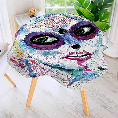 CANCAKA Round Tables in Washable Polyester-Grunge Halloween Lady with Sugar Skull Make Up Creepy Dead Gothic Woman Artsy Tablecloth Ideal for Home, Restaurants 43.5