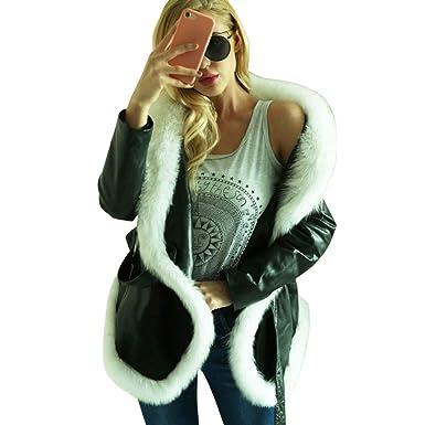 Luckycat Chaqueta de Cuero Caliente de Invierno de Las Mujeres Parka Outwear Abrigo de Abrigo de