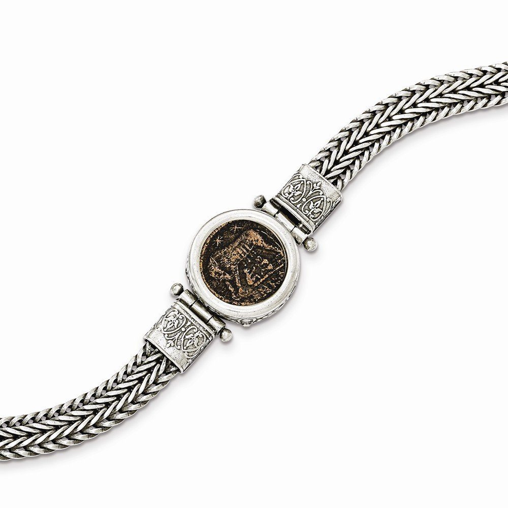 Solid 925 Sterling Silver Antiqued-Style Roman Bronze Urbs Roma Coin Bracelet 7.5'' by Sonia Jewels