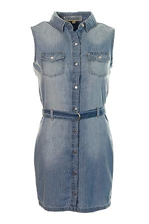 4247e141ea2 Women s Faded Denim Sleeveless Shirt Dress Ladies Belted Button Midi Dress  Size 6 8 10 12 14