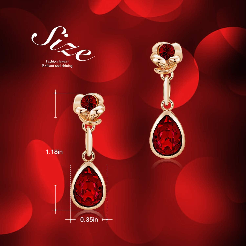 CDE Plaqu/é Or Rose 18K Femmes Boucles dOreilles Fleur Rose Bijoux Cadeau de f/ête des m/ères Id/éal pour Fille