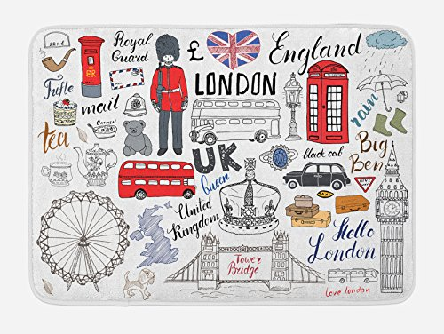 Ambesonne Doodle Bath Mat, I Love London Double Decker Bus Telephone Booth Cab Crown of United Kingdom Big Ben, Plush Bathroom Decor Mat with Non Slip Backing, 29.5 W X 17.5 L Inches, Multicolor