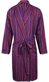 Red Mens Luxury Lightweight Cotton Dressing Gown Blue /& Purple Stripe