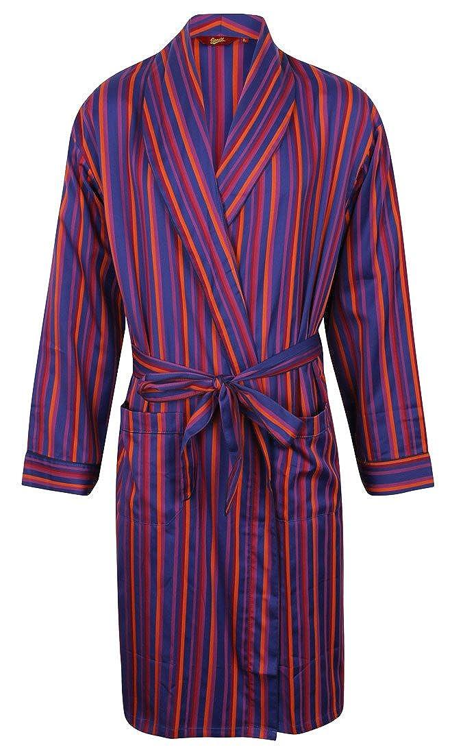 Men's Luxury Lightweight Cotton Dressing Gown – Red, Blue & Purple Stripe