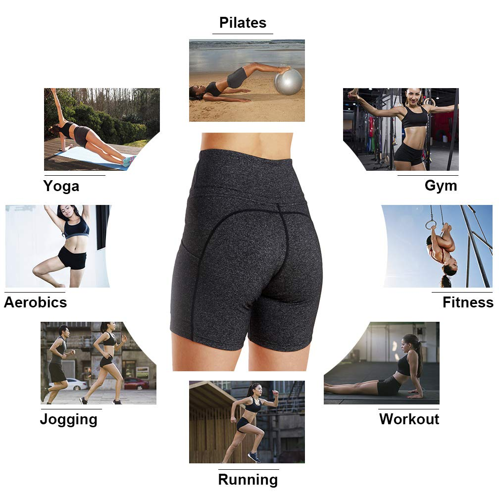 Tesuwel Womens Yoga Shorts with Pockets High Waist Stretch Tummy Control Workout Athletic Running Bike Shorts