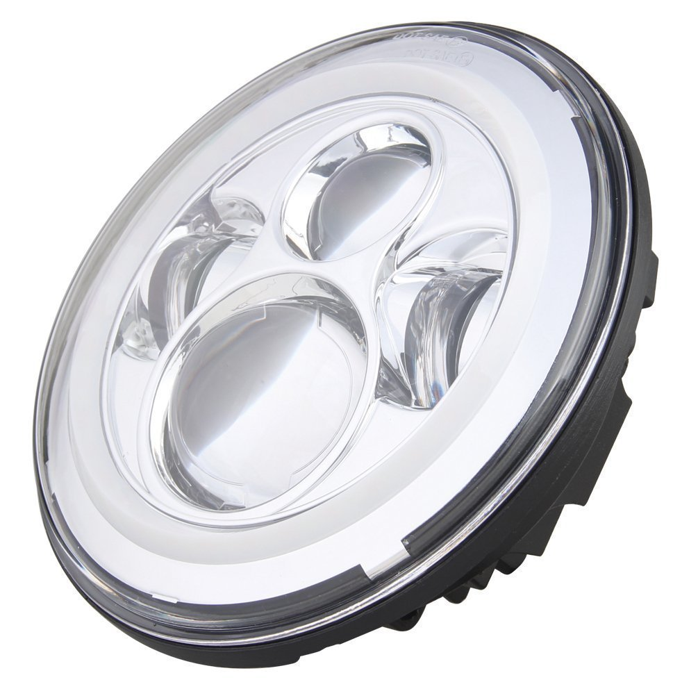 9100C Eagle Lights 7 LED Headlight with Halo Ring for Harley Davidson and all Motorcycles with 7 Headlight Chrome