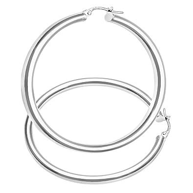 Citerna 9 ct White Gold UER 023W Ladies Hoop Earrings pHIkadP2Ao