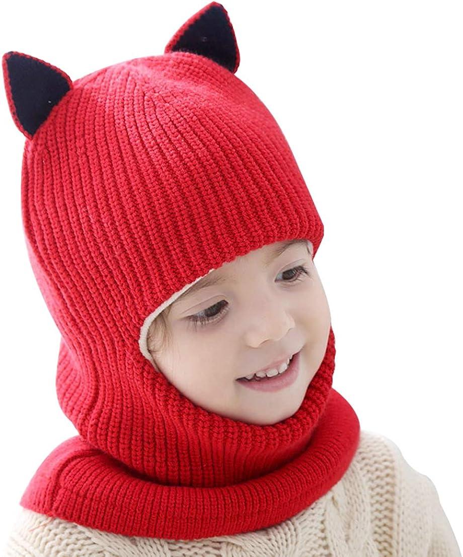 FEOYA Toddler Boys Girls Winter Beanie Knit Scarf Hat Warm Earflap Cap for Children Red 2-5Y