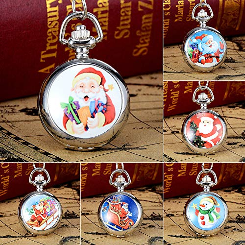 Snowman Christmas Tree Santa Claus Xmas Child Fancy Party Pocket Watch Gift by Gaweb (Image #1)