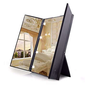 Travel Mirror LuckyFine Tri-Fold Lighted Led Mirror