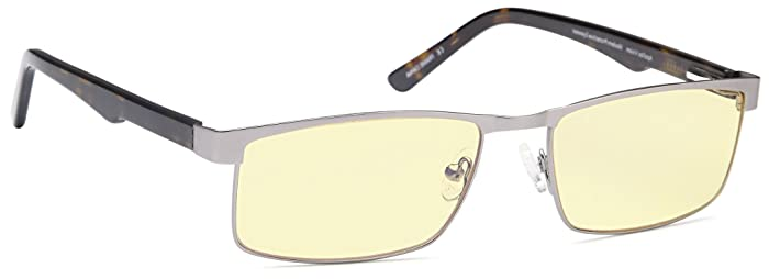 ALTEC VISION Blue Light Blocking Gaming Glasses - Stainless Steel Computer Glasses Spring Hinges - Reduces UV Glare Eye Strain from Digital Screens No Magnification Glasses