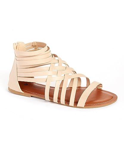 d0299c5623e5 Chatties Women s Gladiator Sandals with Zip Back and Comfort Soles- Cognac  - X-Large