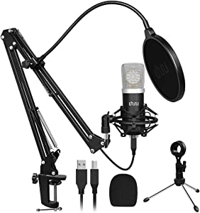 USB Gaming Microphone Kit,UHURU Professional Streaming Microphone with 25mm Large Diaphragm 192kHZ/24bit Condenser Studio Cardioid Mic for YouTube Gaming Podcasting(UM-925)