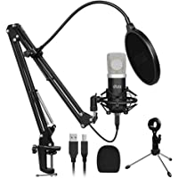 USB Microphone Kit,UHURU Professional Streaming Microphone Kit with 25mm Large Diaphragm 192kHZ/24bit Condenser Studio…