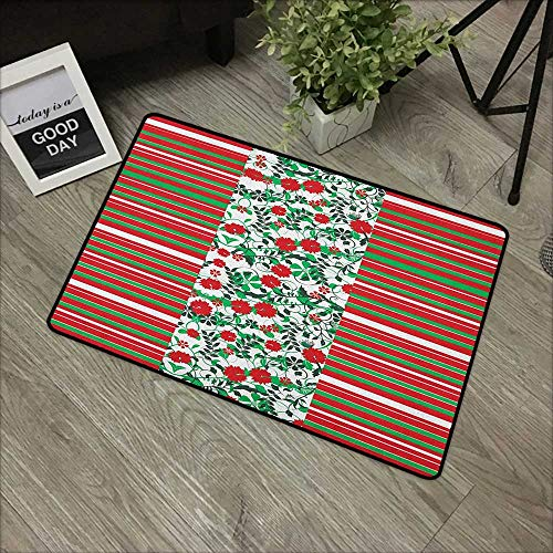 Christmas Outdoor Doormat Poinsettia Flowers Fresh Green Branches Natural Swirls Border on Striped Backdrop Machine-Washable/Non-Slip 24