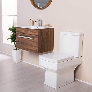 Aquariss Pack WC y Mueble bajo Lavabo Nogal contemporáneo Boston suspendida – Cuarto de baño: Amazon.es: Hogar