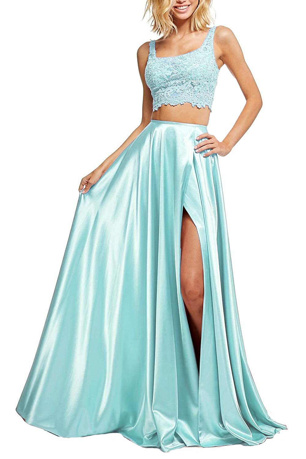 Baby bluee YMSHA Women's Lace Top Prom Dress TwoPiece Long Formal Evening Gowns Side Slit with Pockets XY004