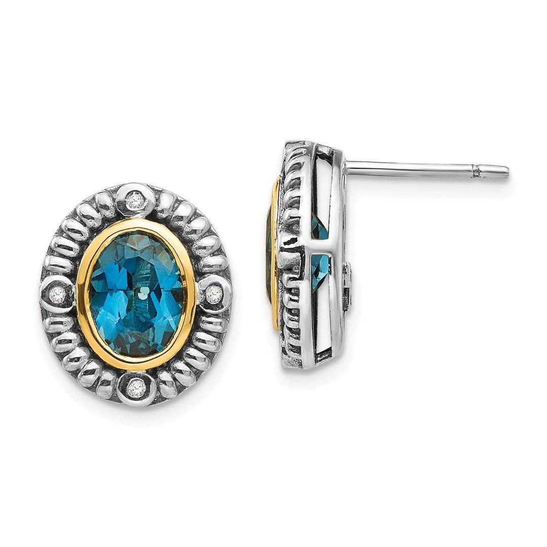 ICE CARATS 925 Sterling Silver 14k London Blue Topaz Diamond Post Stud Ball Button Earrings