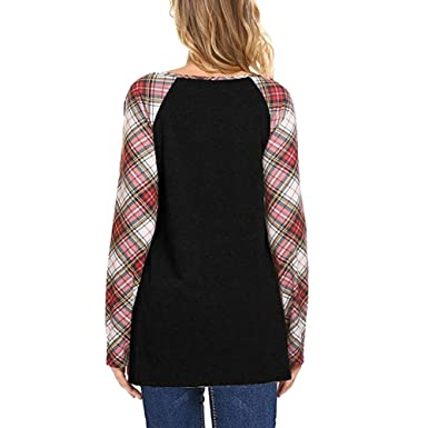 Womens Plaid Skirt Dress Long Sleeve Buttons Decorated Loose Shirt Tops:  Amazon.ca: Clothing & Accessories