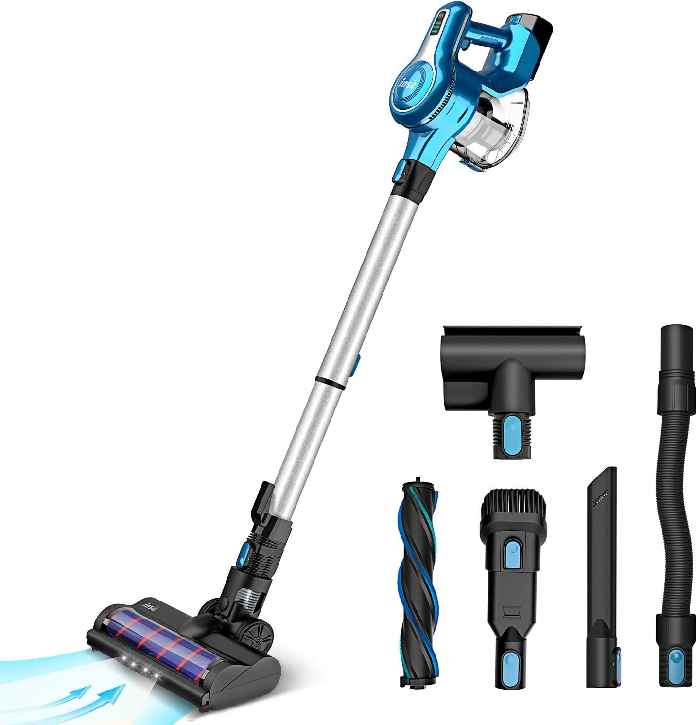 INSE Cordless Stick Vacuum Cleaner 23KPa Powerful Suction with 250W Motor, Stick Handheld Vacuum Lightweight Quiet Rechargeable 2500mAh for Bed Car Pet Hair Hardwood Floor Carpet - S6