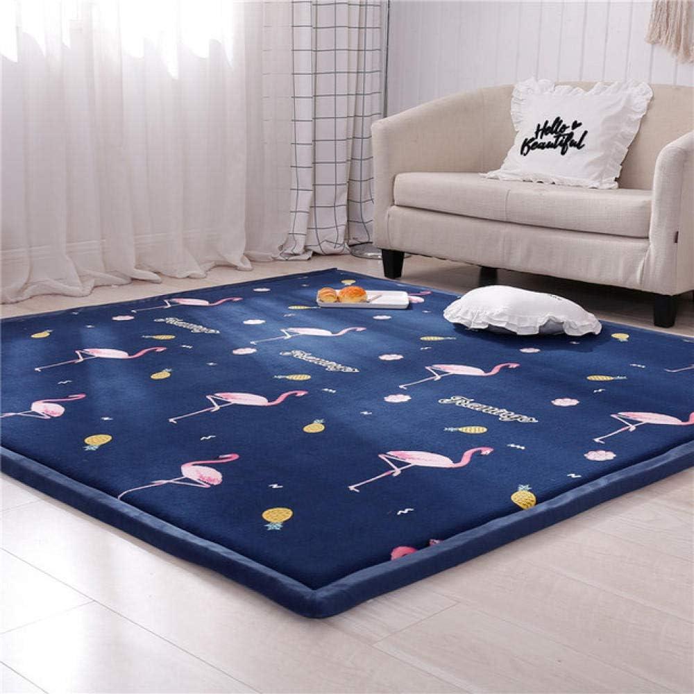 Dormitorio Sala de Estar AlfombraAlfombra de terciopelo coral en la sala de estar y el dormitorio, estera de tatami gruesa, estera de gateo para niños domésticos, pájaro azul marino-120 × 200 cm