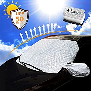 Datitiger Car Windshield Sunshade - Sun Shade for Car Window Front Windshield Silver Front and Black Back Keeps Vehicle Cooler with Storage Pouch
