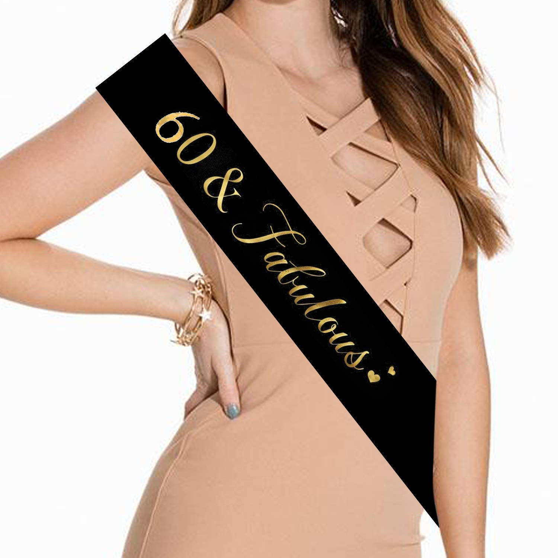 Black Black, White Happy 60th Birthday Gifts for Women Birthday Party Favor 60 /& Fabulous Black and Gold Glitter Satin Birthday Sash