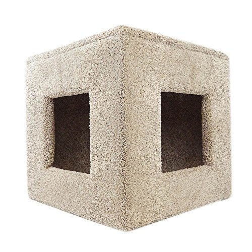 1 Piece Light Brown 21 Inches High Scratcher Single Level Cat Condo, Brown Pet Hiding Cube Tree Bed Kitty Furniture Cave Tunnel House, Two Openings Lounging Inside Stable Prevent Tipping, Carpet Wood