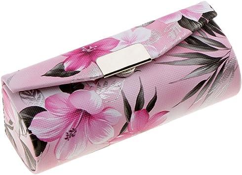 SGerste - Funda de Piel para pintalabios con Espejo, diseño de Flores Chinas Tradicionales, para Maquillaje, Joyas, bálsamo de Labios, Estuche de Viaje, Color Rosa Claro, como se Describe: Amazon.es: Electrónica