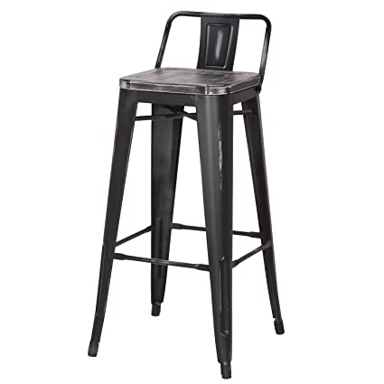 Pleasing Joveco 30 Inches Industrial Chic Distressed Metal Bar Stool With Low Back Set Of 2 Black With Black Seat Pabps2019 Chair Design Images Pabps2019Com